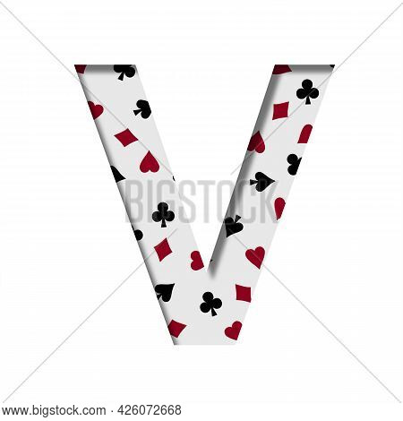 Card Games Font. The Letter V Cut Out Of Paper On The Background Of The Pattern Of Card Suits Spades