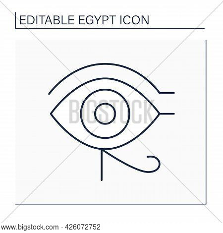 Ra Eye Line Icon. Horus Eye. Source Of Heat And Light. Ancient Egyptian Symbol Of Protection, Royal