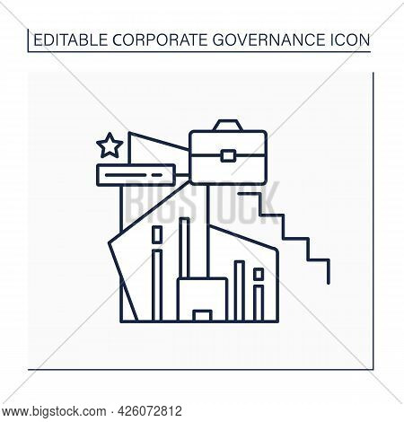 Ladder Line Icon. Employment Hierarchy. Career Advancement. Corporate Governance Concept. Isolated V
