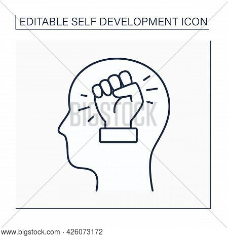 Self-improvement Line Icon. Upgrade And Approve Skills And Knowledge.self-development Concept. Isola