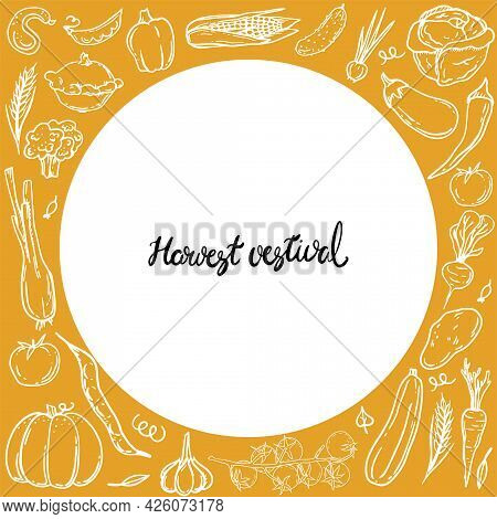 Autumn Harvest Flat Vector Banner Template. Hand Drawn Lettering. Decorative Vegetables Doodle Sketc