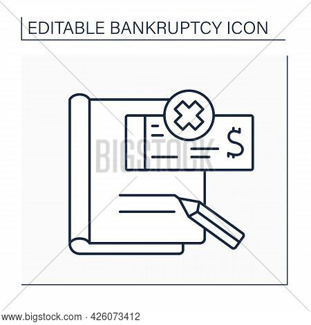 Petition Line Icon. Formal Letter To Court Asking Person Or Company To Be Declared Bankrupt. Officia