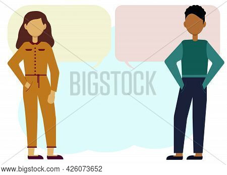 Illustration Of A Man And A Woman Leading A Dialogue. Bubbles For Text