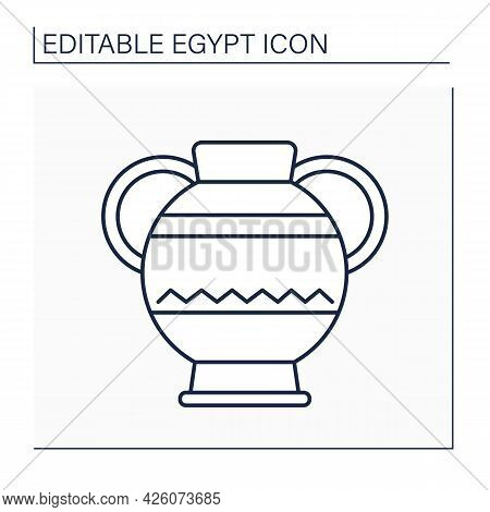 Jar Line Icon. Amphora With Two Handles. Ancient Egyptian Jar For Vine. Egypt Concept. Isolated Vect