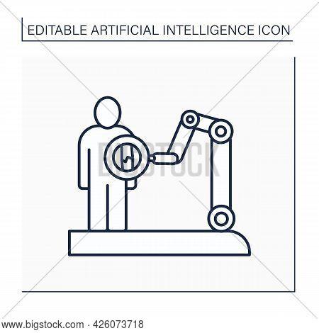 Ai In Medicine Line Icon. X-ray. Robot Machine Examine Human Body. Modern Technology Improves Medici