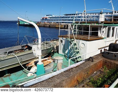 Petrozavodsk, Russia, July 6, 2021. A Lifeboat On A Suspension On A Ship. Equipment Of A Sea Vessel.