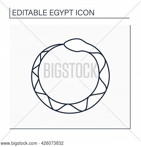 Ouroboros Line Icon. Ancient Symbol Depicting Serpent Or Dragon Eating Tail.infinity Symbol. Egypt C
