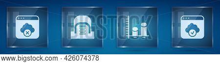 Set Failed Access Cloud Storage, Hangar With Servers, Data Analysis And Cloud Technology Data Transf