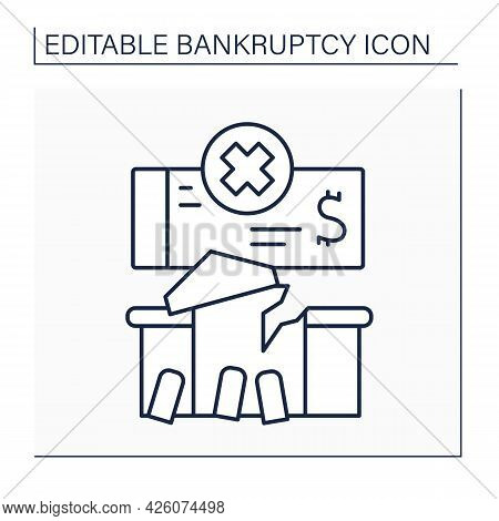 Management Line Icon. Salvage Financial Wreckage By Optimizing Capital And Cash Flow. Economy Collap