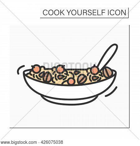 Granola Color Icon.healthy Breakfast Yogurt Or Milk Bowl With Granola And Fruits.homemade Granola Re
