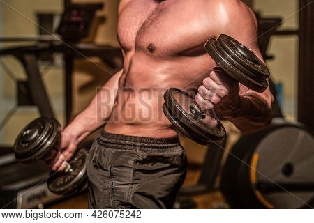 Muscles With Dumbbell. Man Training With Dumbbells. Strong Bodybuilder, Perfect Deltoid Muscles, Sho