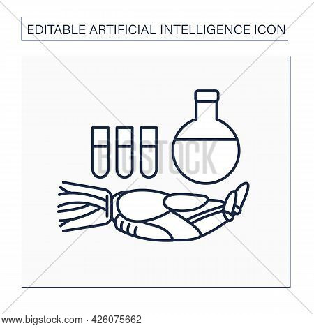 Ai In Chemistry Line Icon. Modern Technologies. Robot And Keeps Flask And Test Tubes. Ai Diagnostic