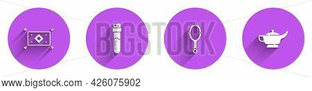 Set Magic Carpet, Bottle With Potion, Hand Mirror And Lamp Aladdin Icon With Long Shadow. Vector