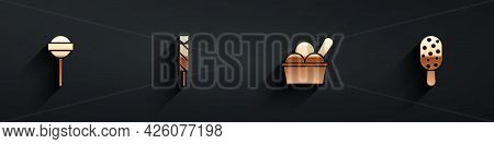 Set Lollipop, Candy, Ice Cream In Bowl And Icon With Long Shadow. Vector