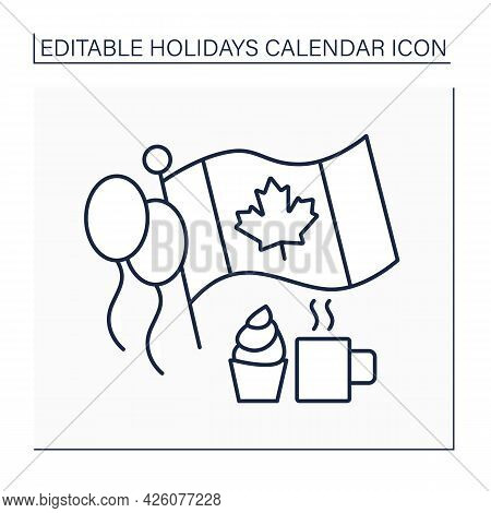 Canada Day Line Icon. July 1. Canada Independence. Traditional Fireworks, Parades, And Parties. Flag