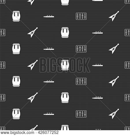 Set Sound Mixer Controller, Electric Bass Guitar, Drum And And Drum Sticks On Seamless Pattern. Vect
