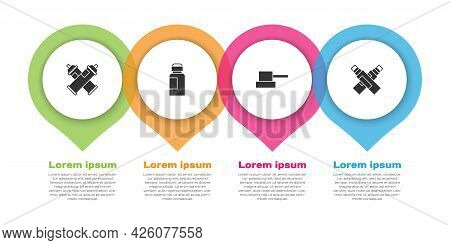 Set Paint Spray Can, Paint, Gouache, Jar, Dye, Spray Nozzle Cap And Marker Pen. Business Infographic