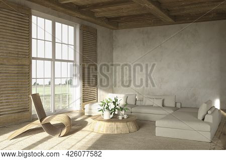 Scandinavian Farmhouse Style Beige Living Room Interior With Natural Wooden Furniture. Mock Up Wall