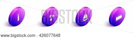 Set Isometric Marker Pen, Attachment, School Backpack And Paper Adhesive Sticker Icon. Vector