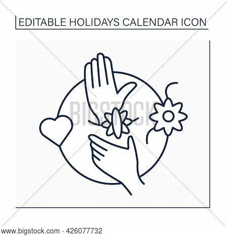 Raksha Bandhan Line Icon. Hindu Celebration. Sisters Tie Special Bracelets Around Brothers Wrists. D