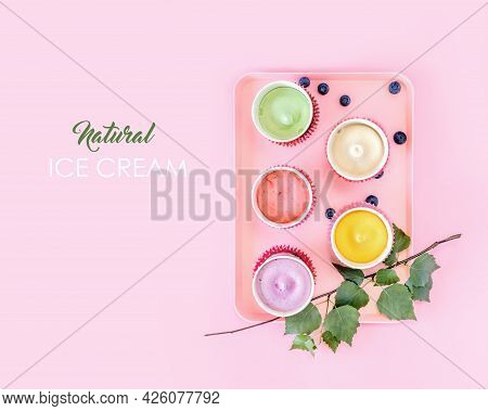 Various Homemade, Natural, Vegan Ice Creams On A Pink Tray On A Pink Background With Copy Space. Fro