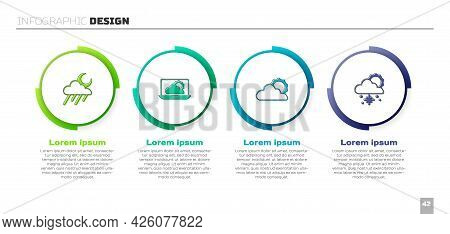 Set Cloud With Rain And Moon, Weather Forecast, Sun Cloud Weather And Snow Sun. Business Infographic
