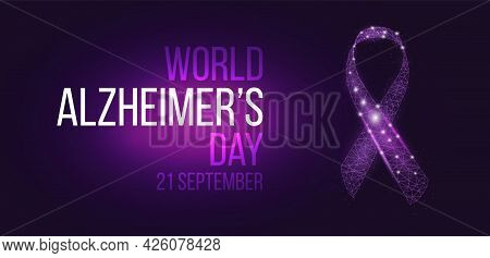 World World Alzheimer's Day Concept. Banner Template With Glowing Low Poly Ribbon Awareness. Futuris