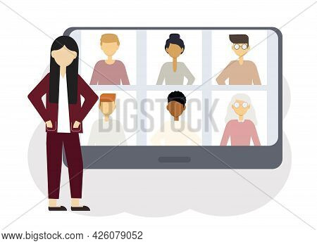 Online Conference Illustration. A Woman Next To A Computer With Portraits Of Men And Women