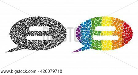 Text Message Mosaic Icon Of Circle Elements In Various Sizes And Spectrum Colored Color Hues. A Dott