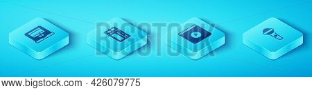Set Isometric Video Recorder On Laptop, Cinema Ticket, Microphone And Online Play Video Icon. Vector