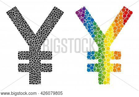 Yen Collage Icon Of Filled Circles In Various Sizes And Rainbow Bright Shades. A Dotted Lgbt-colored