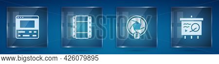 Set Video Recorder On Laptop, Play, Camera Shutter And Scenario Chalkboard. Square Glass Panels. Vec