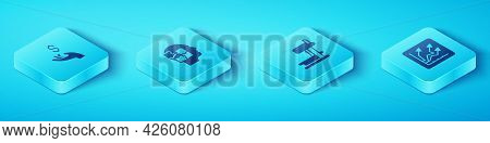 Set Isometric Hand Holding Coin Money, Head Puzzles Strategy, Financial Growth Increase And Treadmil