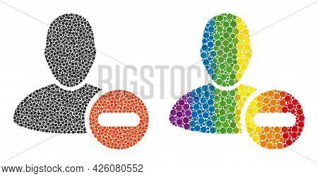 Remove User Mosaic Icon Of Spheric Dots In Various Sizes And Rainbow Multicolored Shades. A Dotted L