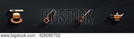 Set Magic Hat And Wand, Hand Saw, Witches Broom And Lamp Or Aladdin Icon With Long Shadow. Vector