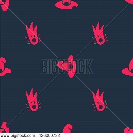 Set Fireball And Witch Hat On Seamless Pattern. Vector