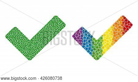 Ok Sign Composition Icon Of Circle Elements In Various Sizes And Spectrum Color Tints. A Dotted Lgbt