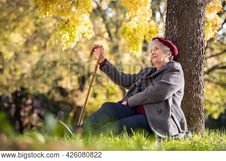 Senior woman relaxing under a tree in park. Thoughtful old woman wearing grey coat and red cap holding walking stick, sitting outdoor with copy space. Mature lady daydreaming in autumn park.