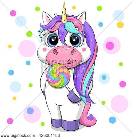 Unicorn With A Large Lollipop. Cute Cartoon Vector Illustration Of An Animal On A White Background W