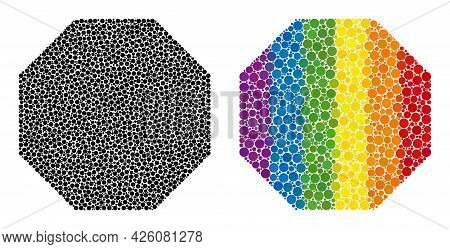 Octagon Collage Icon Of Round Dots In Different Sizes And Rainbow Color Tones. A Dotted Lgbt-colored