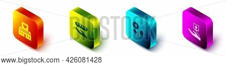 Set Isometric Volunteer Center, Donation Food, Medicine Pill Or Tablet And Blood Donation Icon. Vect