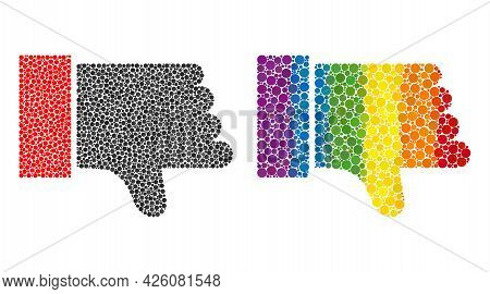 Thumb Down Collage Icon Of Round Dots In Different Sizes And Rainbow Colored Color Tones. A Dotted L