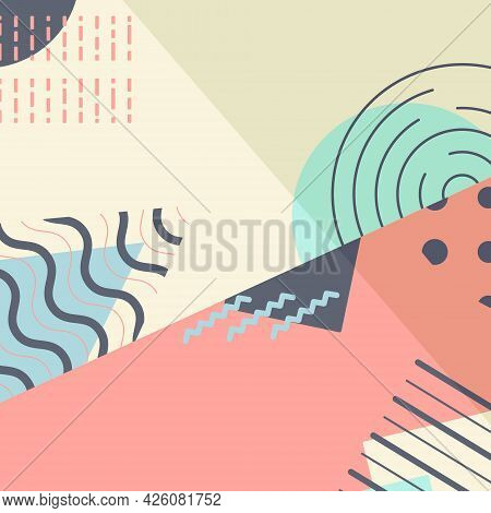 Vector Abstract Trending Background. Geometric Shapes And Figures In Contrasting Colors. Crossing Di