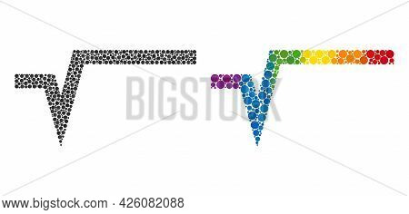 Square Root Composition Icon Of Circle Spots In Different Sizes And Rainbow Colored Color Hues. A Do