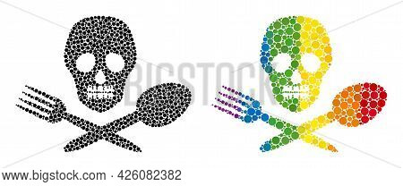 Toxic Food Collage Icon Of Spheric Blots In Variable Sizes And Spectrum Color Tinges. A Dotted Lgbt-
