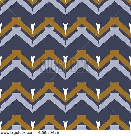 Masculine Geometric Chevron Seamless Pattern. Classic Retro Geo Shape For Digital Scrapbook Paper An