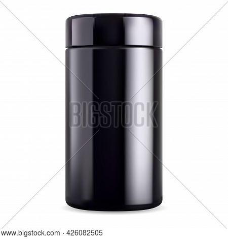 Black Jar Mock Up. Black Glass Bottle, Supplement Tin. Glossy Plastic Sport Packaging, Vector Tea Co