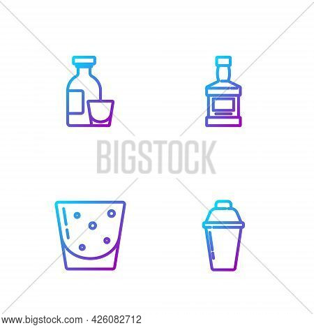 Set Line Cocktail Shaker, Glass Of Rum, Alcohol Drink Rum And Whiskey Bottle. Gradient Color Icons.
