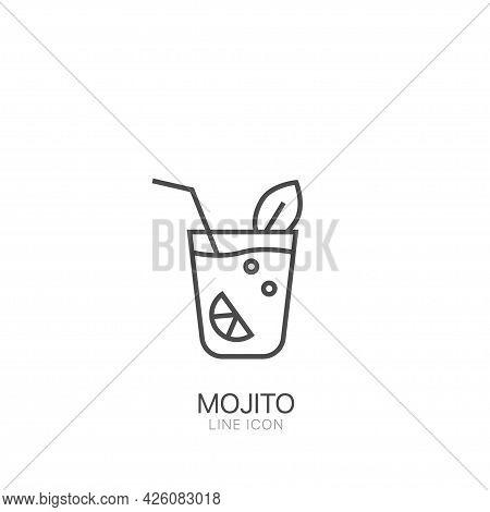 Mojito Outline Vector Icon. Editable Stroke Thin Line Black Mojito Icon