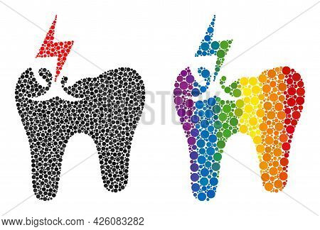 Tooth Crash Composition Icon Of Circle Spots In Various Sizes And Spectrum Colored Color Tinges. A D